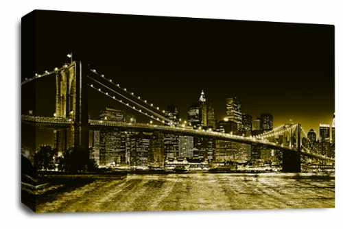 Brooklyn Bridge Art New York Skyline Sepia Brown Panorama Canvas Wall Panel